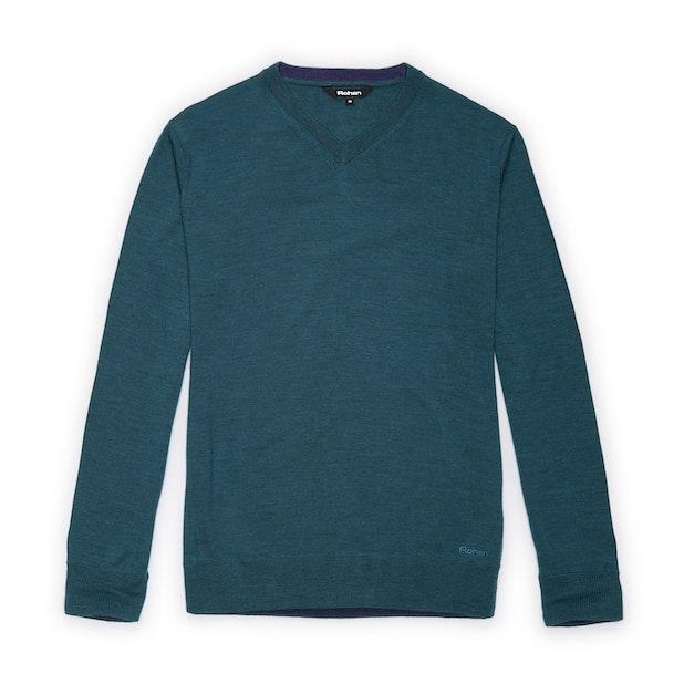 Extrafine Merino Knitted V Neck - Kingfisher Blue