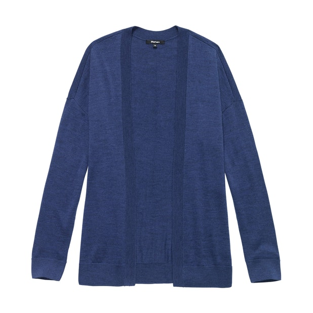 Extrafine Merino Knitted Cover-Up Cardi - Mallard Blue Marl