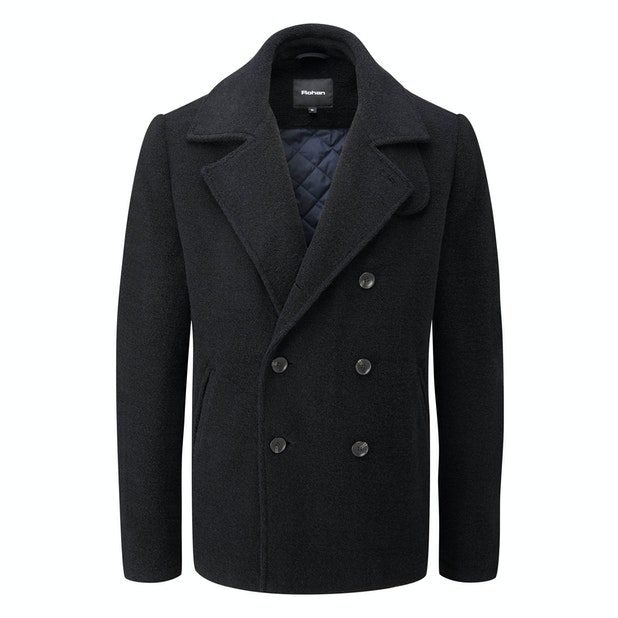 Cold Harbour Coat - Technical, machine washable, wool-blend pea-coat.