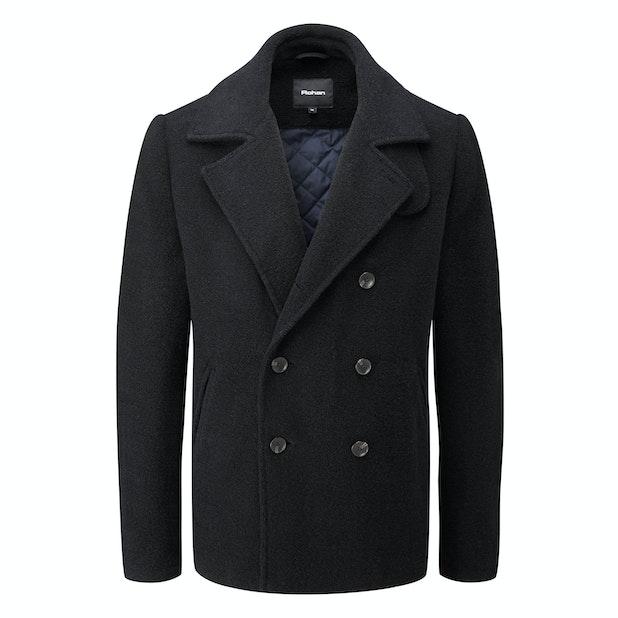 Cold Harbour Coat - Technical, machine washable, wool-blend pea-coat.
