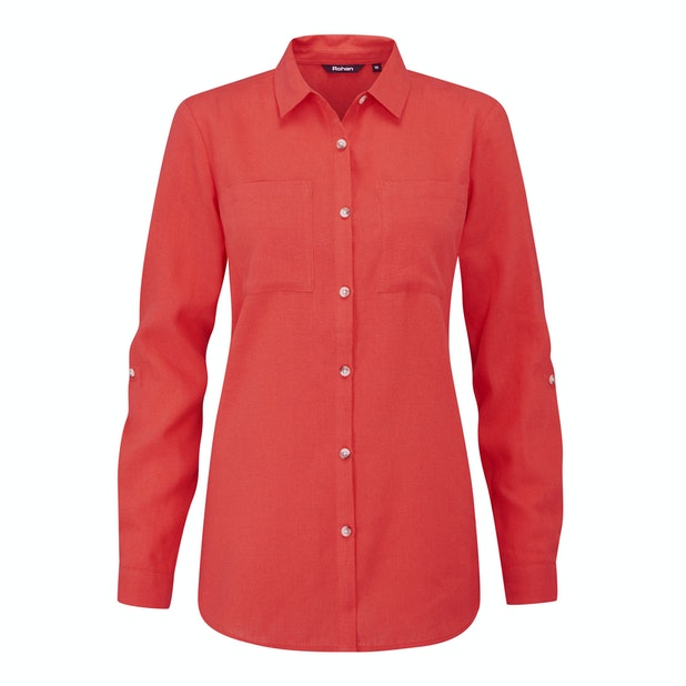 """Malay Shirt - <a href=""""/womens-linen-plus-clothing"""" style=""""color:#d3771c;font-weight:bold"""">Qualifies for Performance Linen™ offer*</a>"""