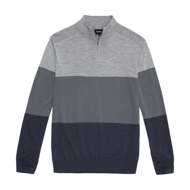 Extrafine Merino Knitted Zip Top - Mid Grey Marl
