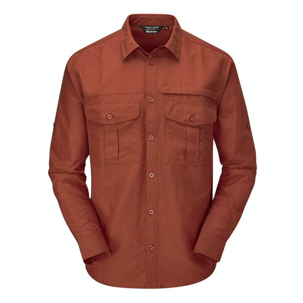 "Expedition Shirt - <a href=""/mens-anti-insect-clothing-for-outdoors-and-travel "" class=""hide-us"" style=""color:#d3771c;font-weight:bold"">Insect Shield offer available - click here*</a><span class=""hide-uk"">Tough trekking shirt with UV and insect protection.</span>"