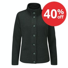 Very warm, easycare wool-like button down jacket.
