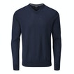 View Extrafine Merino Knitted V Neck - Deep Navy