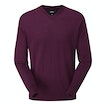 View Extrafine Merino Knitted V Neck - Deep Red Marl