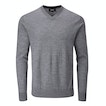 View Extrafine Merino Knitted V Neck - Greystone Marl