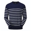 View Extrafine Merino Knitted Crew - French Blue Marl/Light Grey