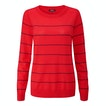 View Extrafine Merino Knitted Crew - Horizon Red/Damson Stripe