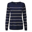 View Extrafine Merino Knitted Crew - Navy/Sepia Rose Stripe