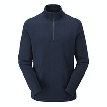 Relaxed fit, low maintenance wool-like zip neck.