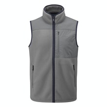 High-pile fleece vest with vintage styling.