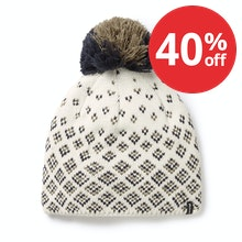 Stylish and warm winter knitted hat with bobble.