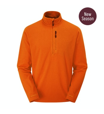 Stretch Microgrid Zip Neck Top Men's, Ember Orange