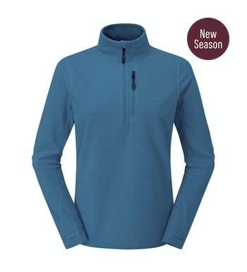 Stretch Microgrid Zip Neck Top Women's, Cumbria Blue