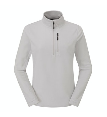 Stretch Microgrid Zip Neck Top Women's, Mineral Grey
