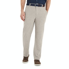 On Body - Technical, smart-casual linen trousers.