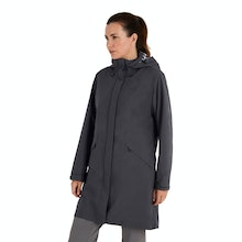 On Body - Longer length waterproof jacket.