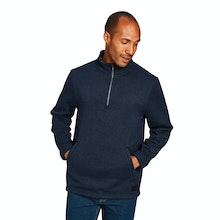 On Body - Relaxed fit, low maintenance wool-like zip neck.