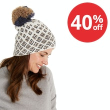 On Body - Stylish and warm winter knitted hat with bobble.