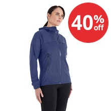 On Body - A women's rain jacket that's ultra-waterproof while being breathable, lightweight and stretchy.