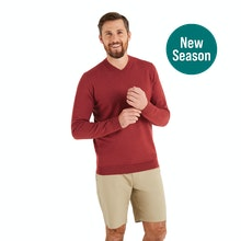 On Body - Technical, knitted V Neck jumper for year-round warmth.