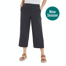 On Body - Relaxed, wide leg cropped trousers.