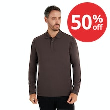 On Body - Soft, stretchy long-sleeved polo for everyday wear.